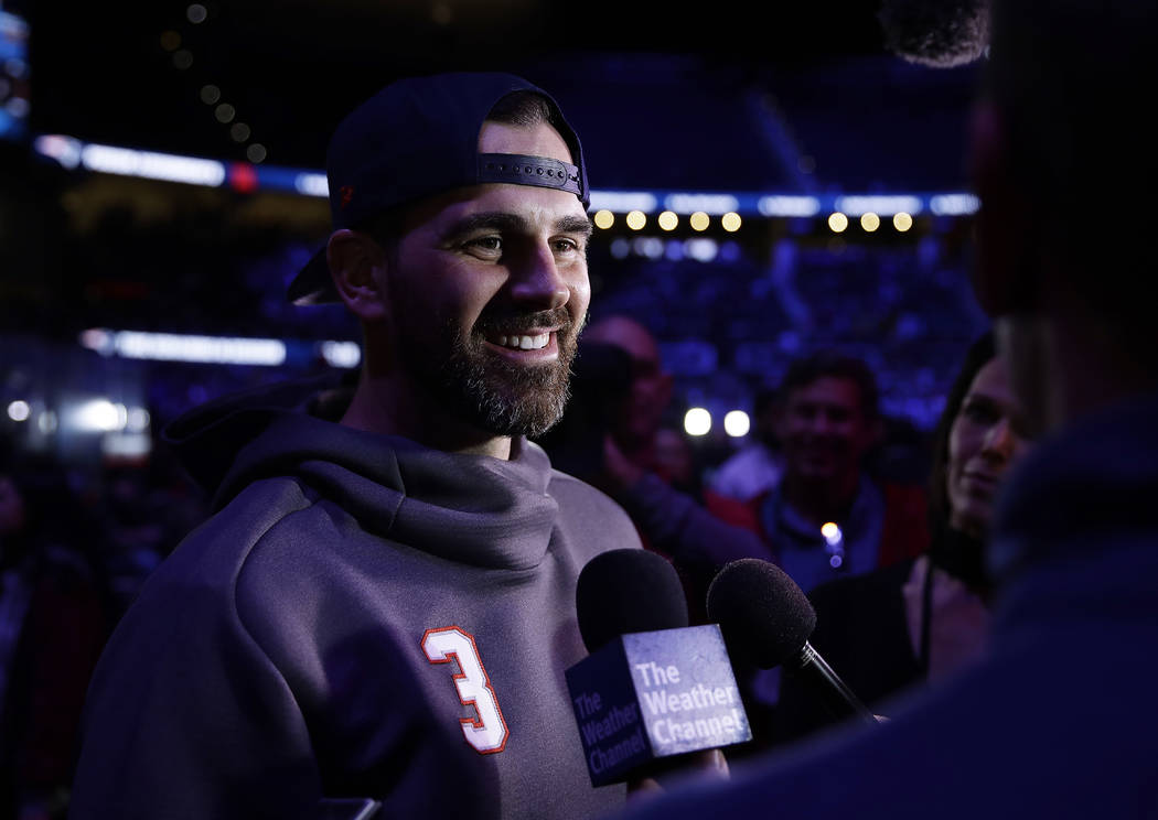 New England Patriots' Stephen Gostkowski answers a question during Opening Night for the NFL Super Bowl 53 football game Monday, Jan. 28, 2019, in Atlanta. (AP Photo/Matt Rourke)