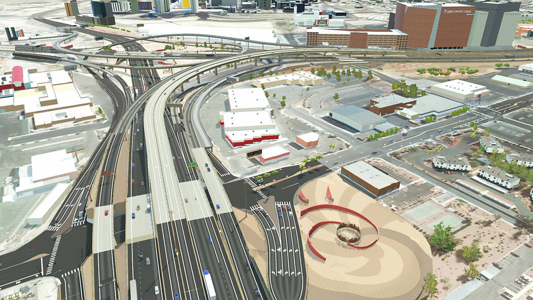 Artist rendering of what the U.S. Highway 95 southbound offramp to Martin Luther King Boulevard will look like once the ramp is reconfigured during a 100-day closure slated to begin Feb. 3. (Court ...