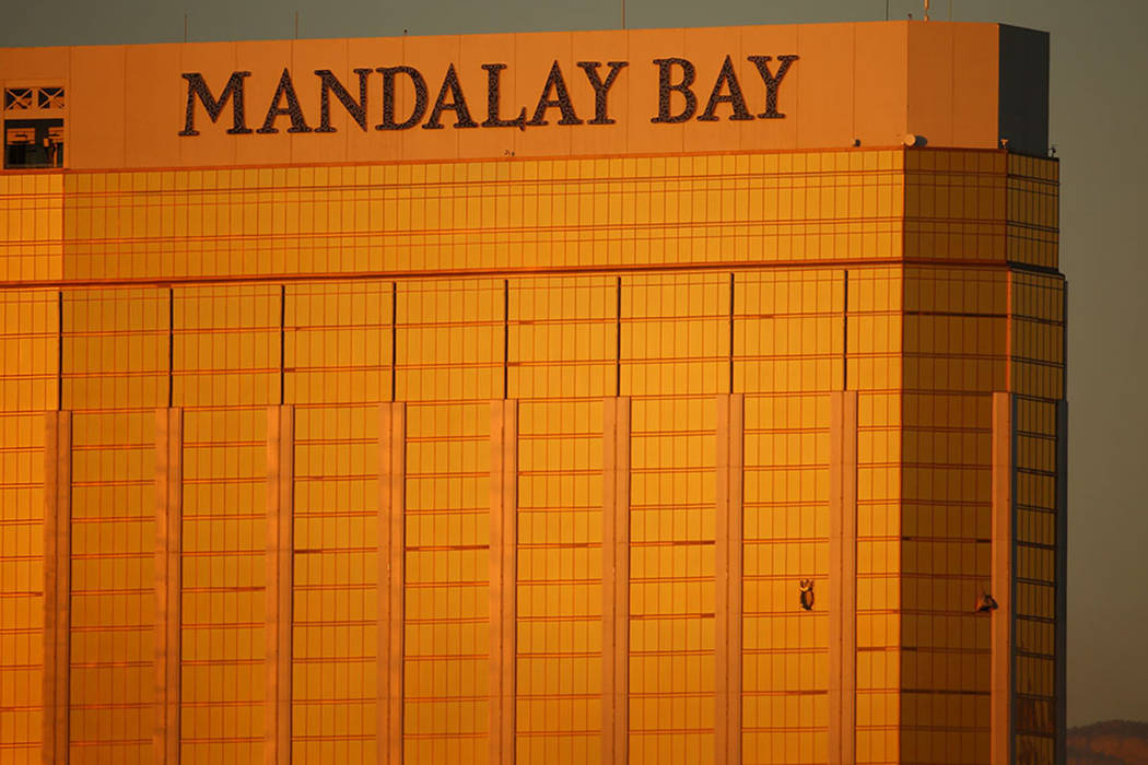 Two windows are blown out at Mandalay Bay in Las Vegas on Oct. 2, 2017, one day after the deadliest mass shooting in modern U.S. history. (Las Vegas Review-Journal)