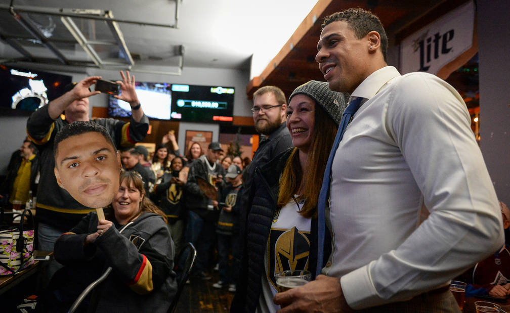 Vegas Golden Knights player Ryan Reaves poses for a photograph with fans at a party for the release of his new beer, Training Day, at PKWY Tavern Flamingo in Las Vegas, Thursday, Dec. 27, 2018. Ca ...