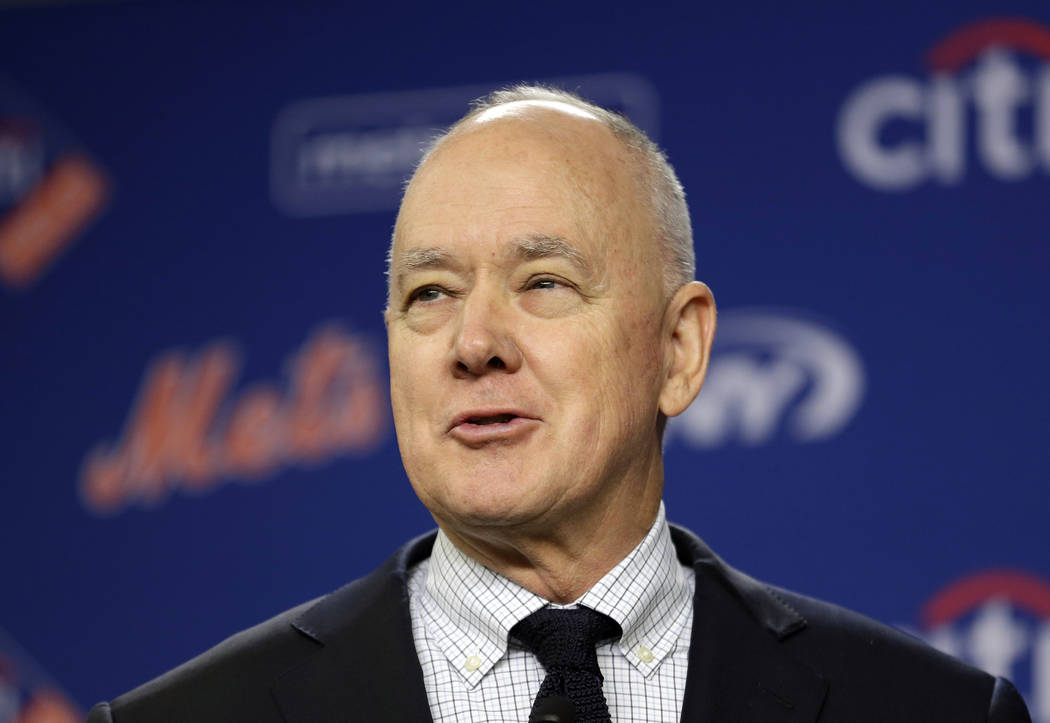 In this Jan. 17, 2018 file photo, New York Mets' general manager Sandy Alderson speaks at a news conference at Citi Field in New York. Alderson is returning to the Oakland Athletics as a senior ad ...