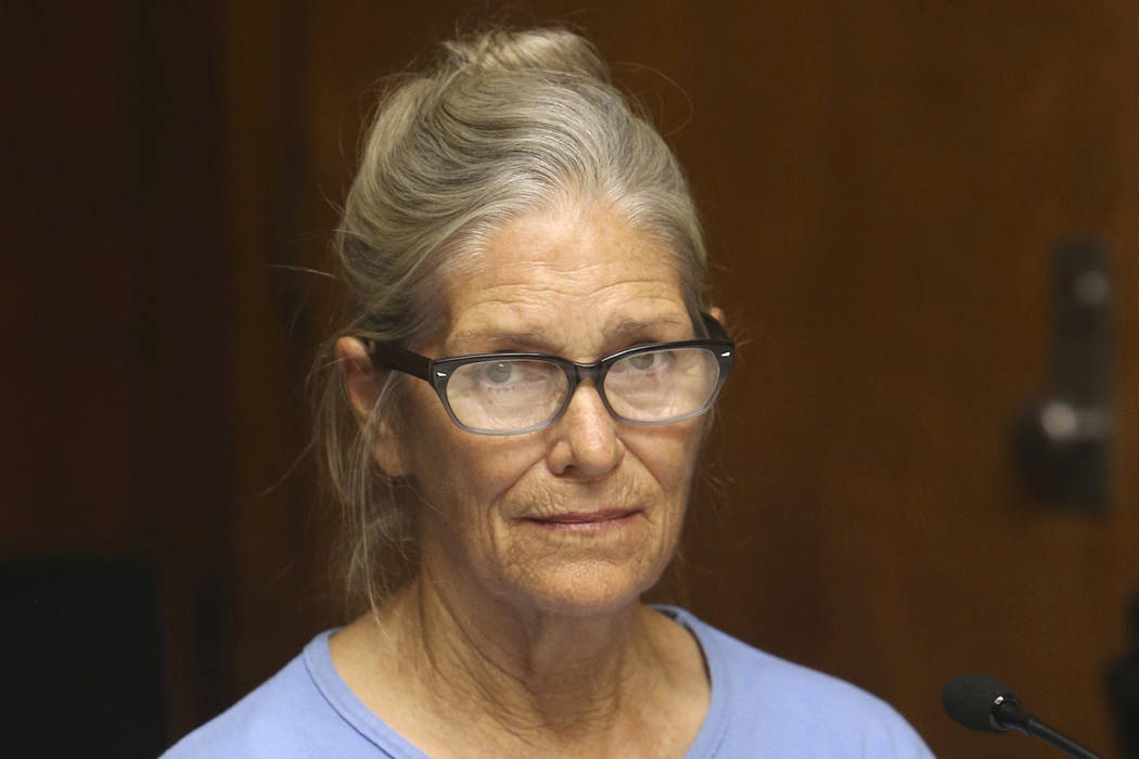 This Sept. 6, 2017 file photo shows Leslie Van Houten at her parole hearing at the California Institution for Women in Corona, Calif. The youngest follower of murderous cult leader Charles Manson ...