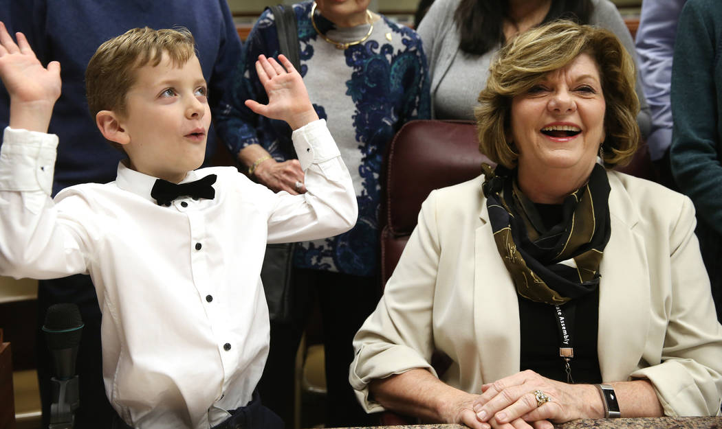 "Connor Clack, 7, does the ""mind-blown"" gesture after his grandmother, Assemblywoman Connie Munk, D-Las Vegas, told him that she was making history in the first-ever female majority Legis ..."