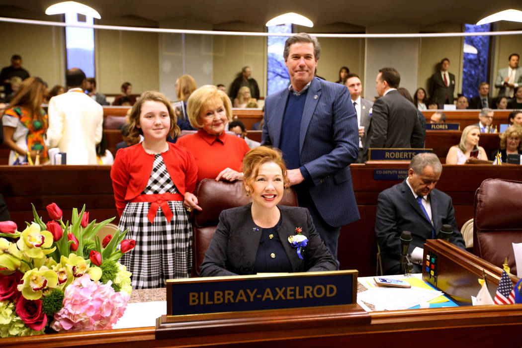 Assemblywoman Shannon Bilbray-Axelrod, D-Las Vegas, poses with her daughter Molly Billbray-Axelrod, mother Michaelene Bilbray and her husband Danny Axelrod in the Legislative Building in Carson Ci ...