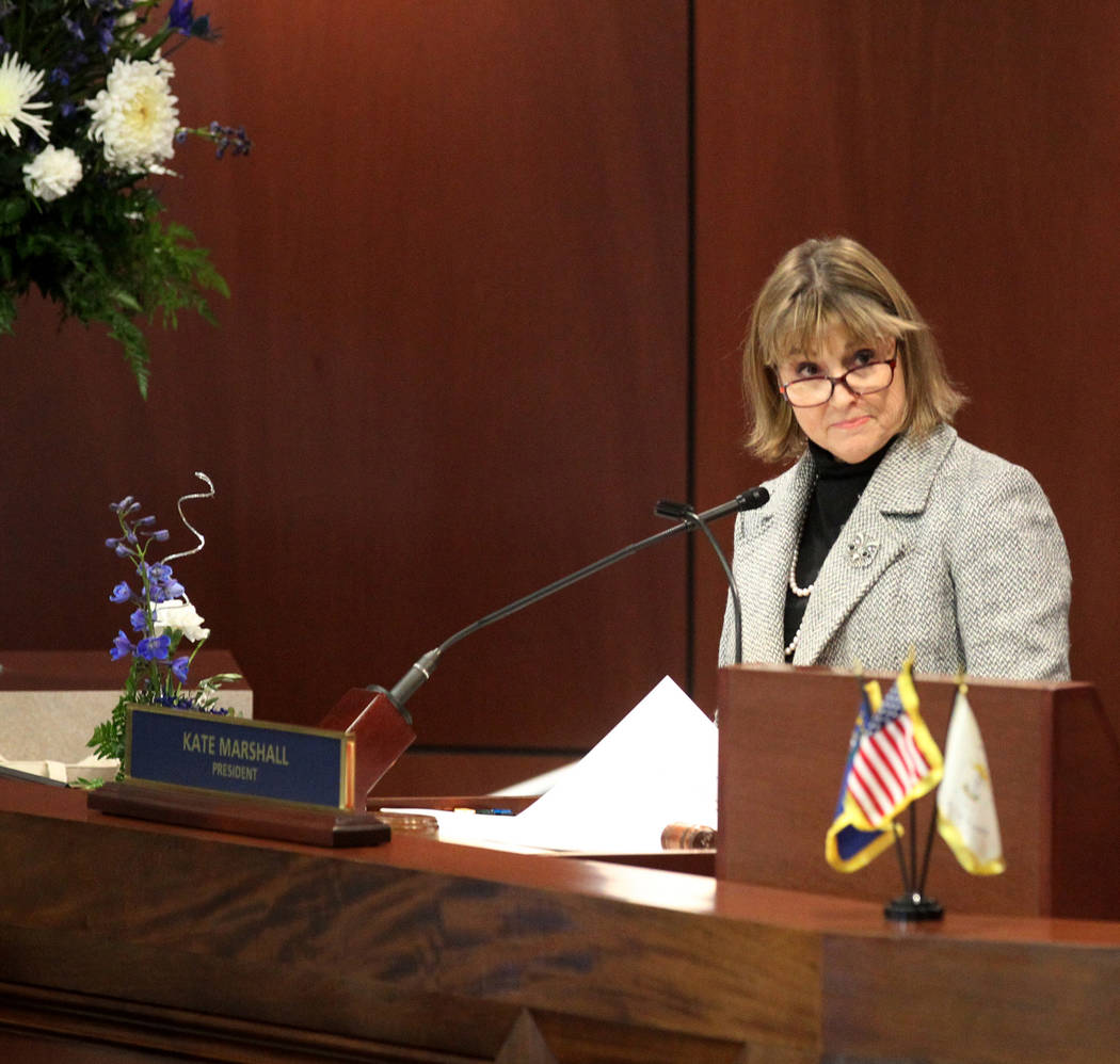 Lt. Gov. Kate Marshall presides over the Senate the Legislative Building in Carson City on the first day of the 80th session of the Nevada Legislature Monday, Feb. 4, 2019. (K.M. Cannon/Las Vegas ...