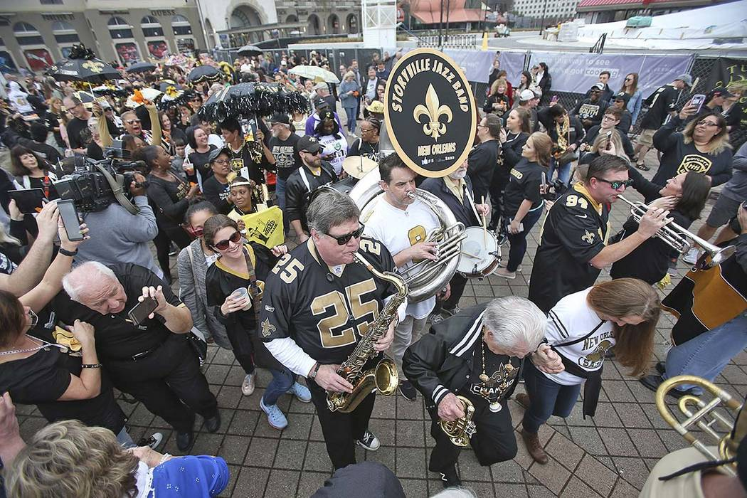 The Storyville Jazz Band leads a jazz funeral for the Saints' season during the NOLA No-Call Jazz Funeral and Second Line Parade organized as a protest against the no call that likely cost the Sai ...