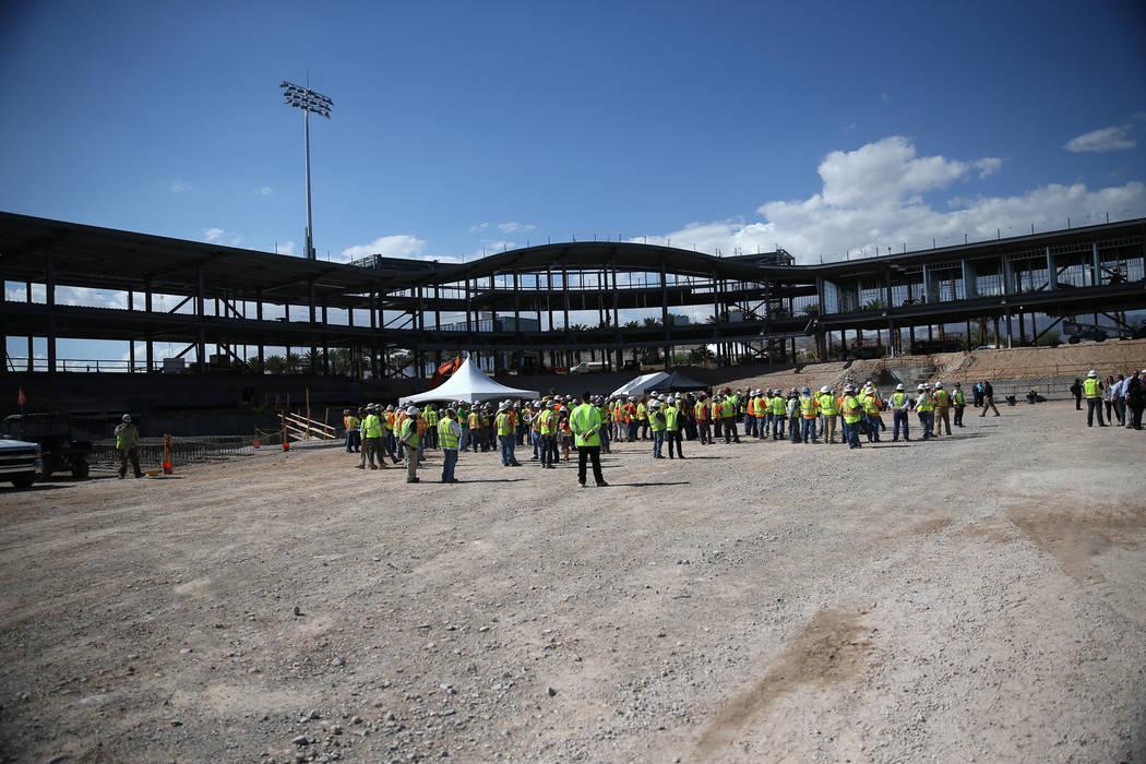 The Las Vegas Ballpark construction site during a topping off ceremony at the Las Vegas Ballpark construction site in Las Vegas, Thursday, Oct. 11, 2018. (Erik Verduzco/Las Vegas Review-Journal) @ ...