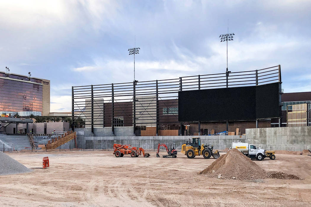In a recent photo, the frame for Las Vegas Ballpark's videoboard is being constructed. The display is scheduled to be the largest of its type in minor league baseball. (Howard Hughes Corporation)