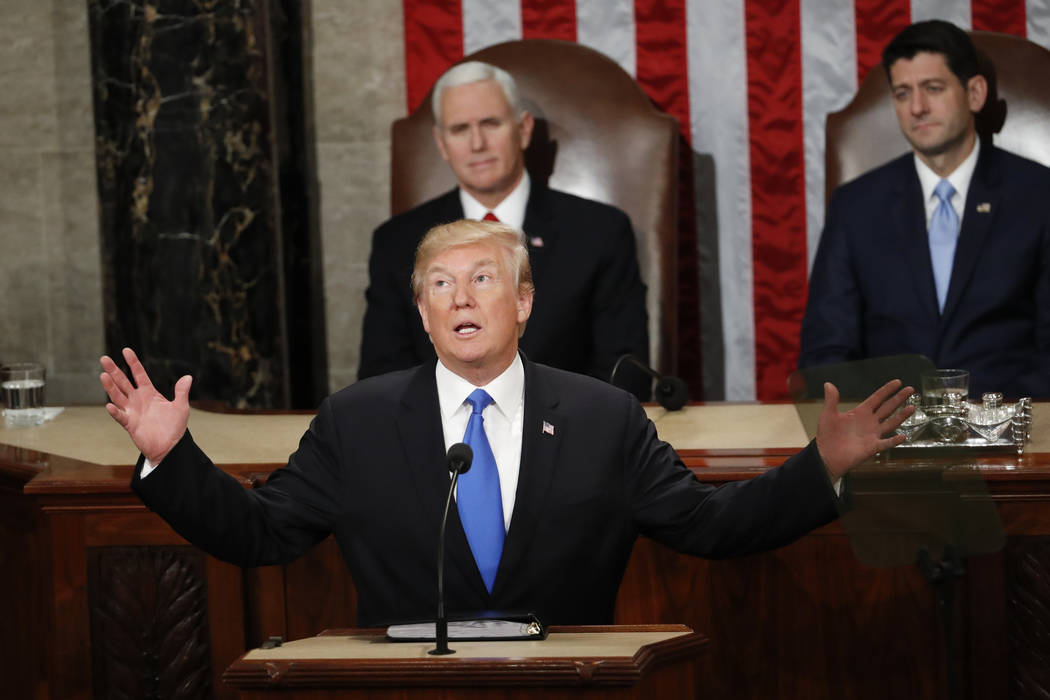In this Jan. 30, 2018 file photo, President Donald Trump delivers his State of the Union address to a joint session of Congress on Capitol Hill in Washington. (AP Photo/Pablo Martinez Monsivais, ...