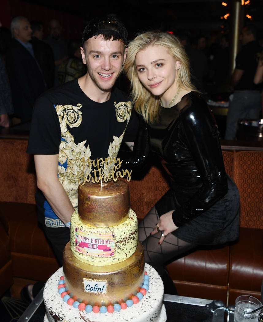 Chloe Grace Moretz (R) and her brother Colin Moretz (L) celebrate their birthday at On The Record Speakeasy And Club In Park MGM as Mark Ronson Launches his DJ Residency on February 2, 2019 in Las ...