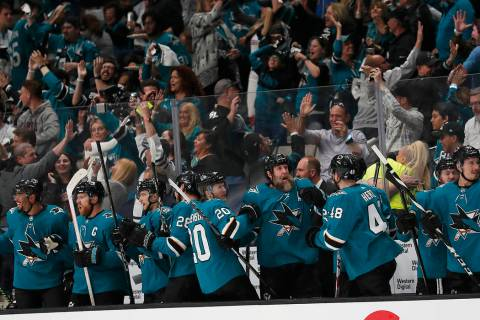 San Jose Sharks players and fans celebrate after Joonas Donskoi scored a goal against the Color ...