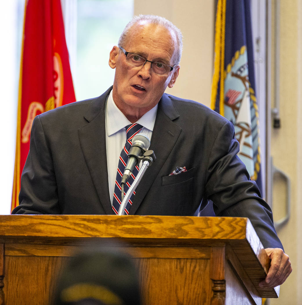 The Honorable Mark Stevens gives a keynote address during a Memorial Day ceremony at the Southe ...
