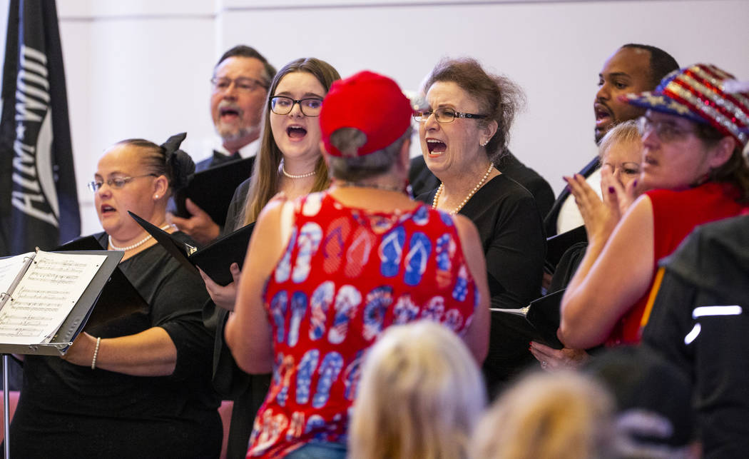 The Star-Spangled Singers perform for the crowd during a Memorial Day ceremony at the Southern ...