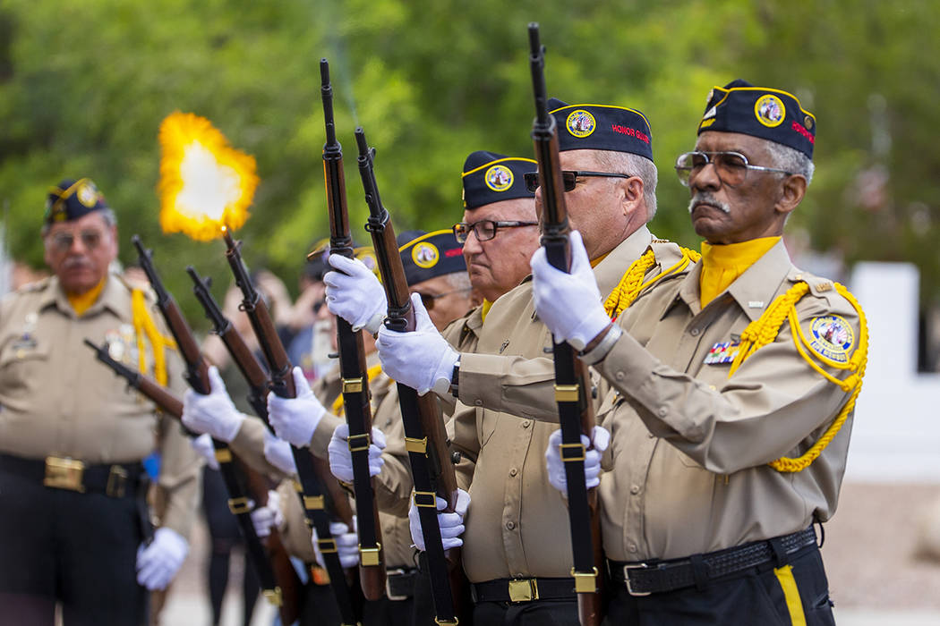 The Firing Honor Guard conduct a 21 Gun Salute ending a Memorial Day ceremony at the Southern N ...