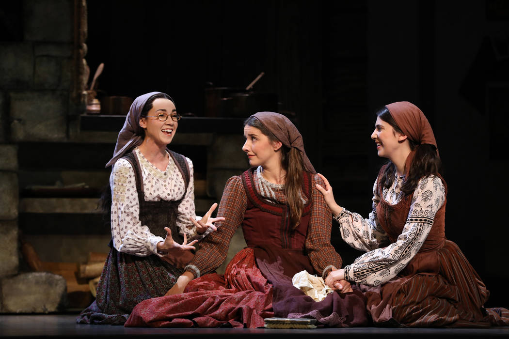 """Natalie Anne Powers, Mel Weyn and Ruthy Froch in portray Tevye's daughters in """"Fiddler on the R ..."""