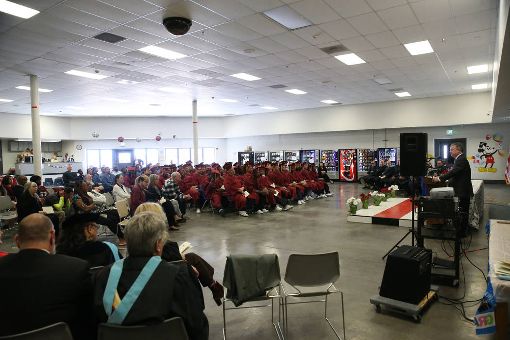 Inmates graduate from the Youthful Offender Program and Adult High School at the High Desert St ...