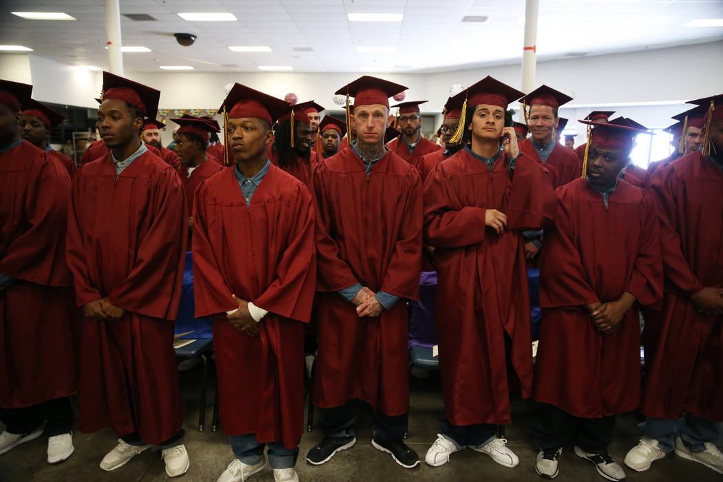 Inmates attend their graduation from the Youthful offender Program and Adult High School at the ...