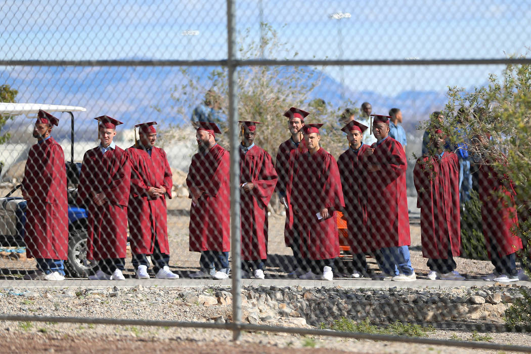 Inmates line up before making their way to their graduation at the High Desert State Prison in ...
