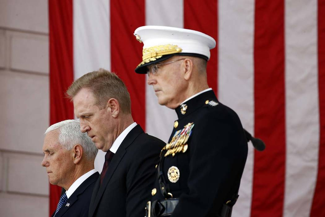 Vice President Mike Pence, from left, Acting Defense Secretary Patrick Shanahan and Joint Chief ...