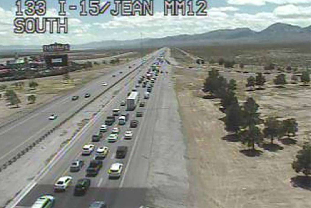 Heavy traffic on southbound Interstate 15 from Las Vegas into Southern California on Monday aft ...