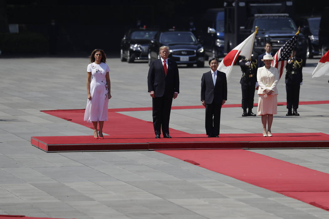 President Donald Trump and first lady Melania Trump participate with Japanese Emperor Naruhito ...