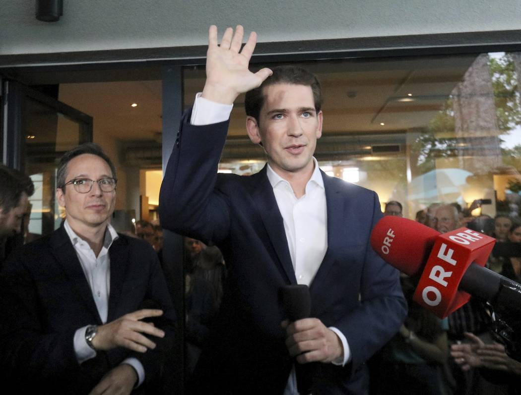 Austrian Chancellor Sebastian Kurz waves to his supporters at the political headquarters of Aus ...