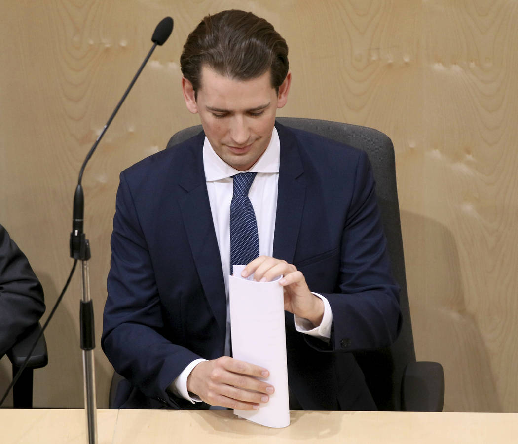 Austrian Chancellor Sebastian Kurz attends at parliament session in Vienna, Austria, Monday, Ma ...