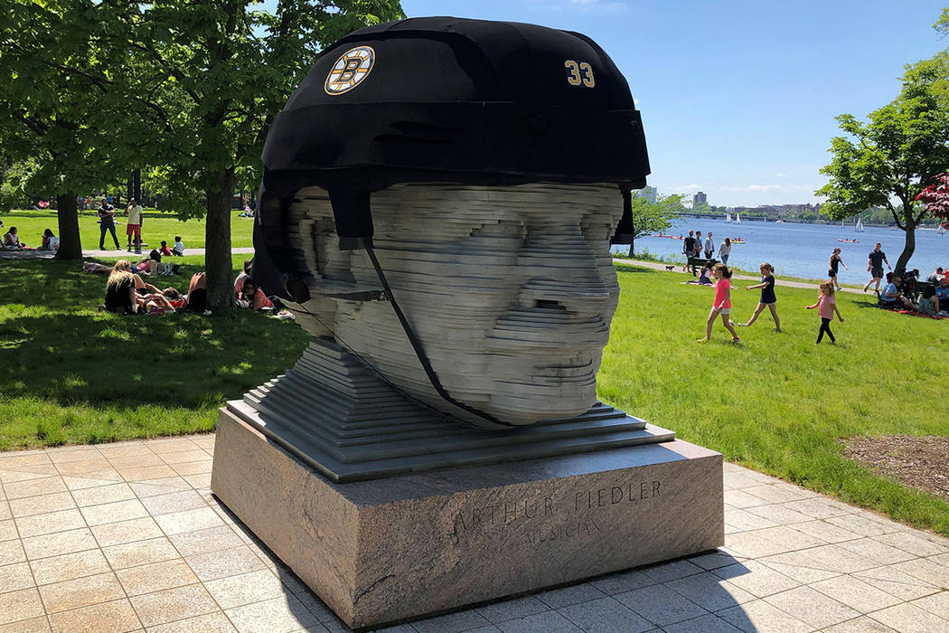 In this May 27, 2019, photo provided by Michael Nichols, a giant Boston Bruins helmet rests ato ...