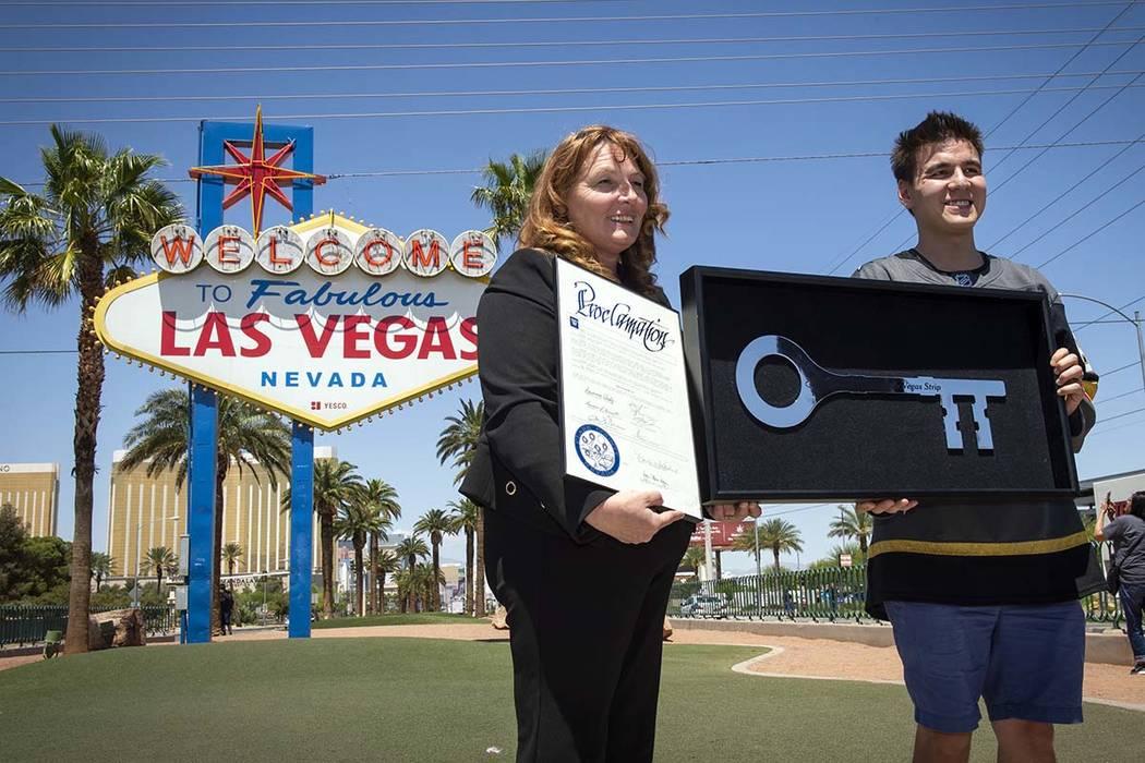 Clark County Commission Chairwoman Marilyn Kirkpatrick presents the key to the Las Vegas Strip ...