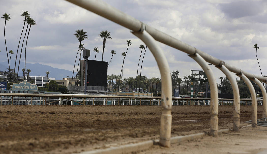 FILE - In this March 7, 2019, file photo, The home stretch race track is empty at Santa Anita P ...