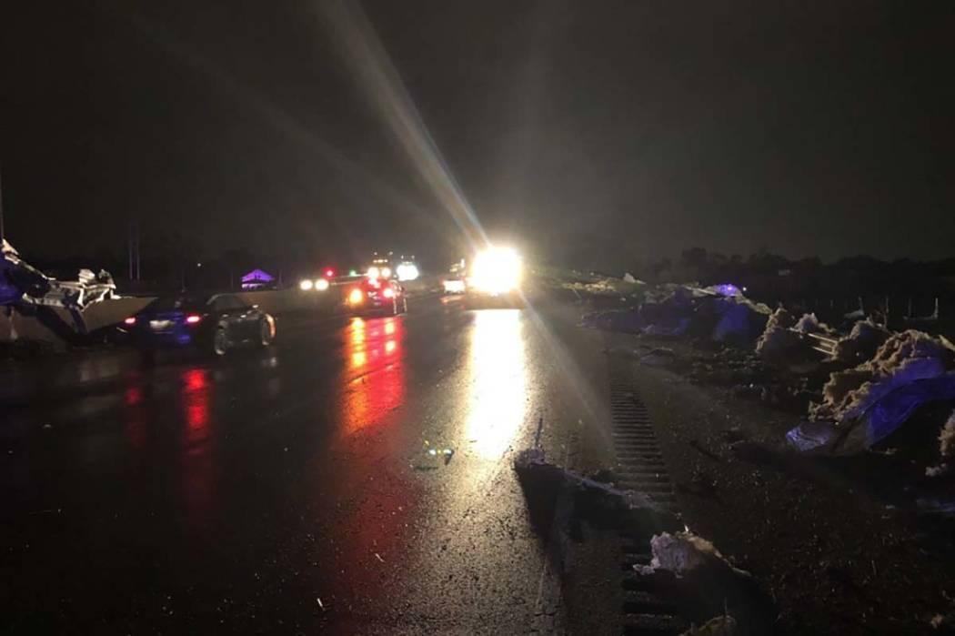 Debris along I-75 near Dayton, Ohio, from a tornado that struck Sunday night. (Ohio Department ...