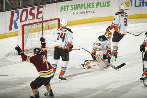 Chicago Wolves forward Daniel Carr (7) celebrates a goal during third period Monday against the ...