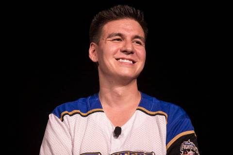"""""""Jeopardy!"""" champion James Holzhauer listens to a question from the audience during a semin ..."""