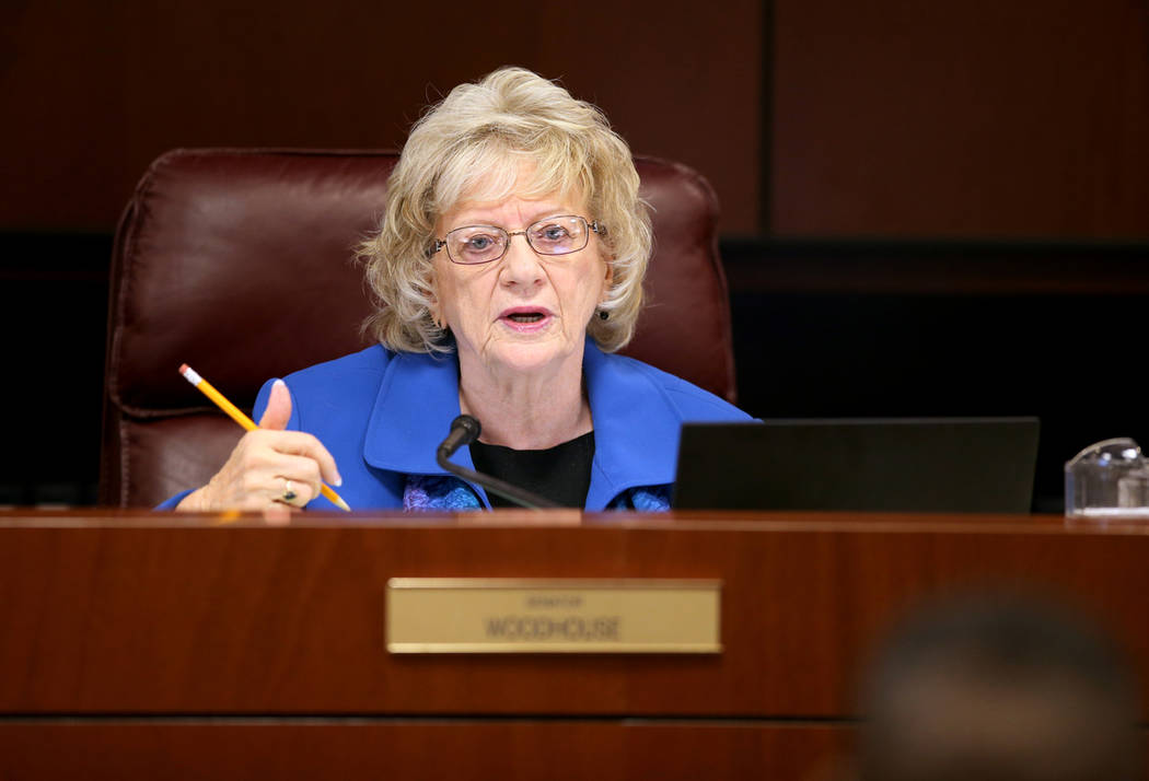 Sen. Joyce Woodhouse, D-Henderson, presides during a Finance Committee meeting in the Legislati ...