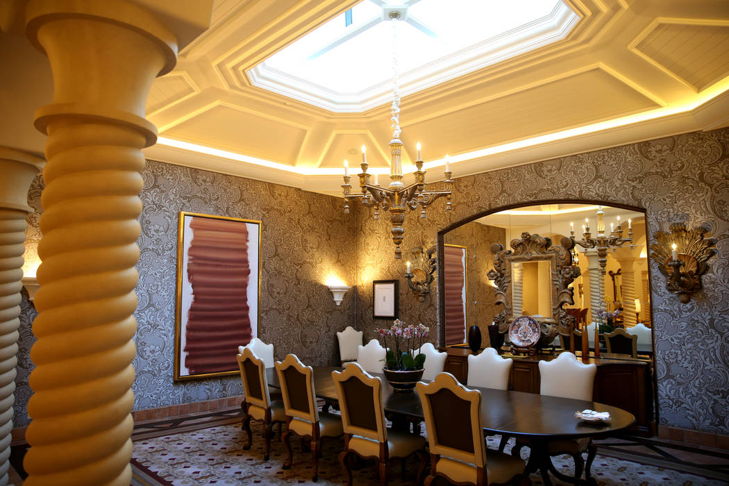 The dining room at the 12,000-square-foot Villa 8 at The Mansion at MGM on the Strip in Las Veg ...