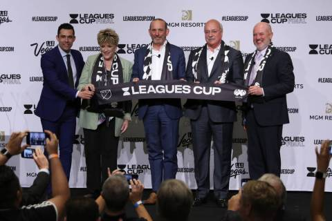 Commentator Hercules Gomez, from left, Las Vegas Mayor Carolyn Goodman, Major League Soccer Pre ...