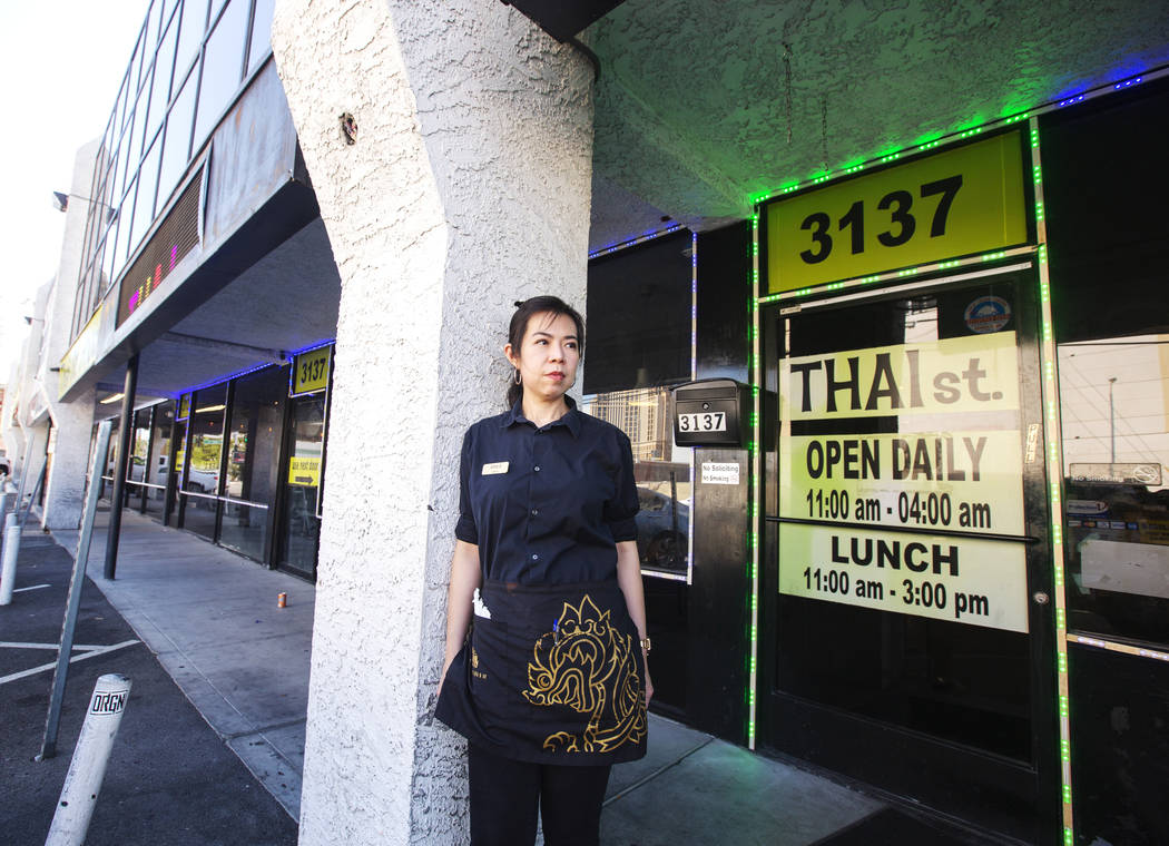 Apple Mollette works at Thai St. restaurant at the renamed Siegel Plaza West on Sammy Davis Dri ...