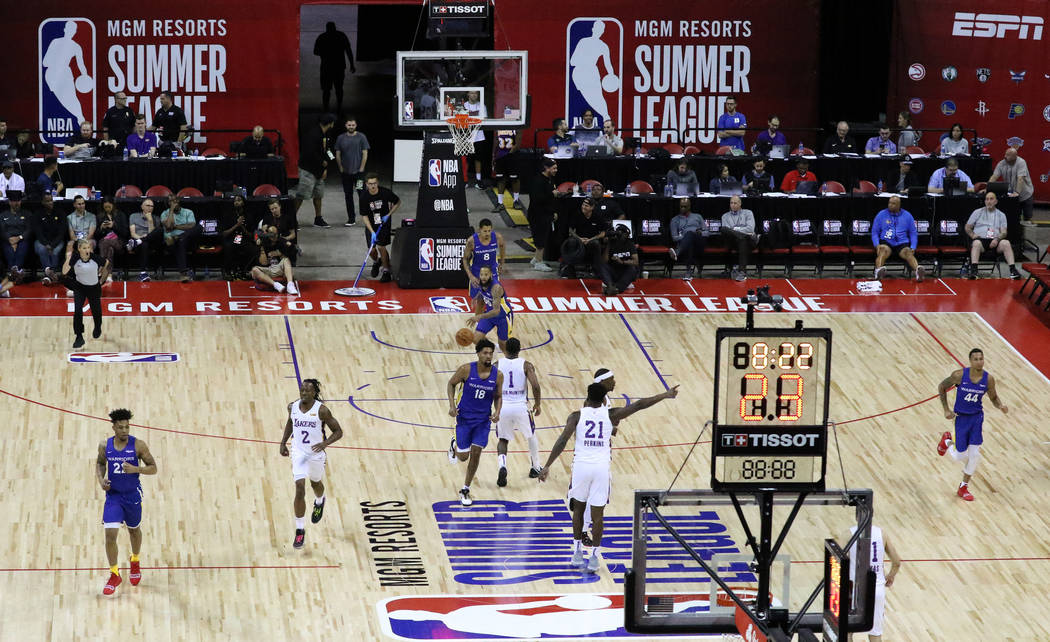 The Los Angeles Lakers and the Golden State Warriors play during their Vegas Summer League game ...