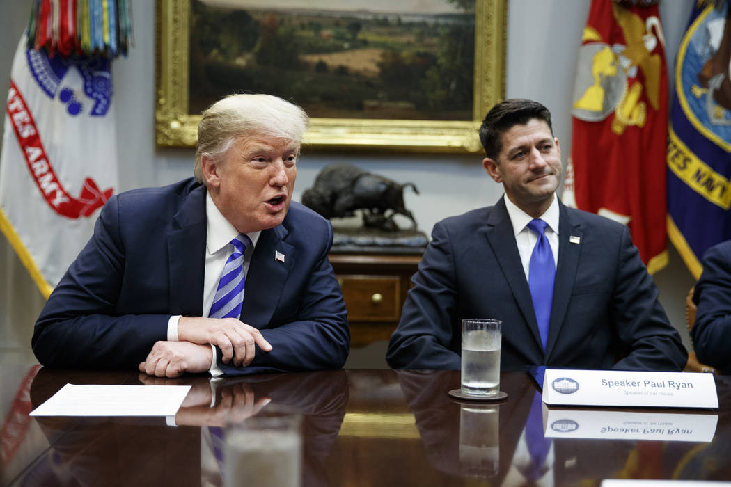 In a Sept. 5, 2018, file photo, then Speaker of the House Rep. Paul Ryan, R-Wis., listens to Pr ...