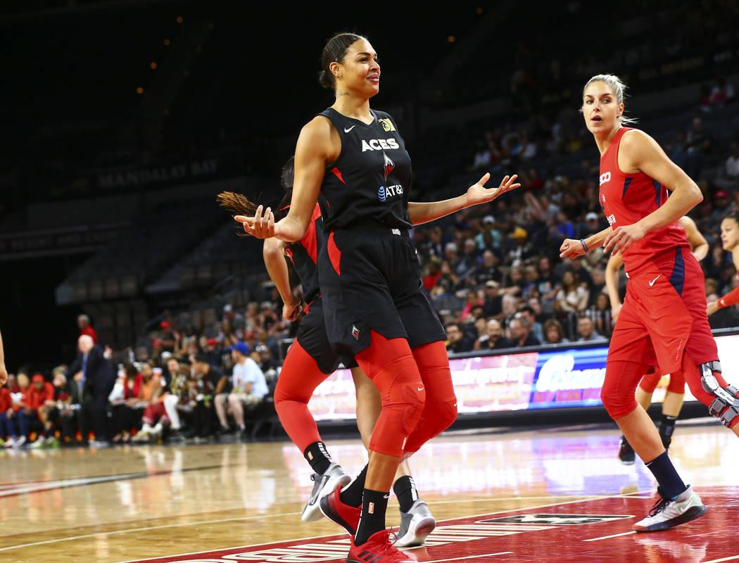 Las Vegas Aces center Liz Cambage (8) reacts after scoring against the Washington Mystics durin ...