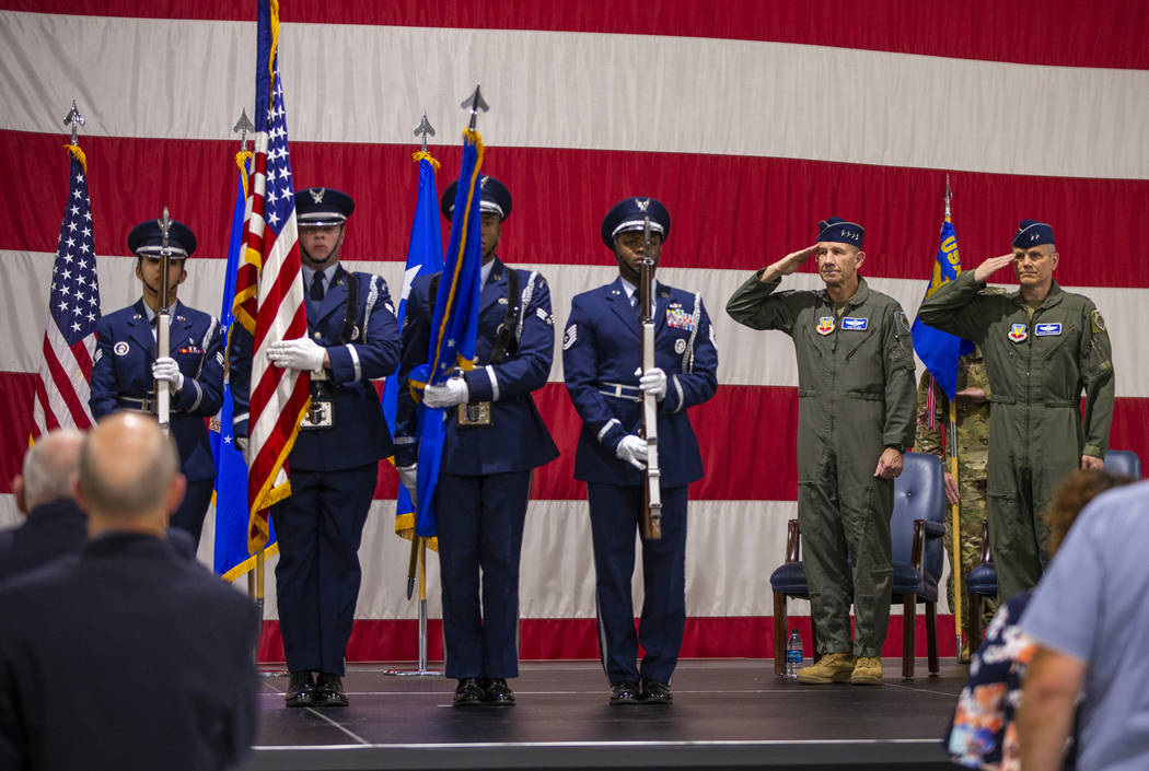 The Presentation of colors takes place as Gen. Mike Holmes, Commander of Air Combat Command, an ...