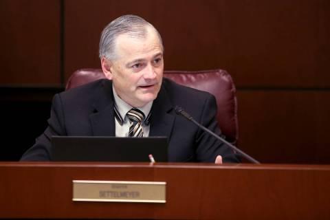Senate Minority Leader James Settelmeyer, R-Minden, asks a question during a Finance Committee ...