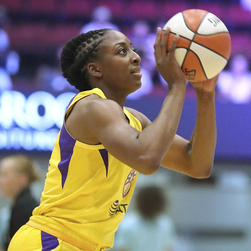 Los Angeles Sparks Nneka Ogwumike #30 warms up against the New York Liberty during a WNBA baske ...