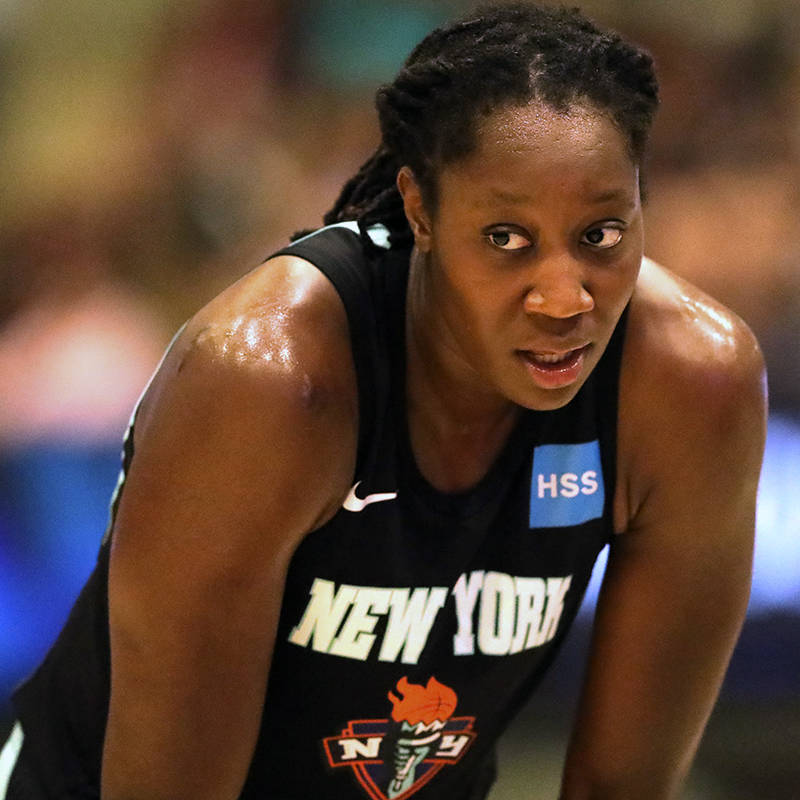 New York Liberty's Tina Charles #31 in action against the Los Angeles Sparks during a WNBA bask ...