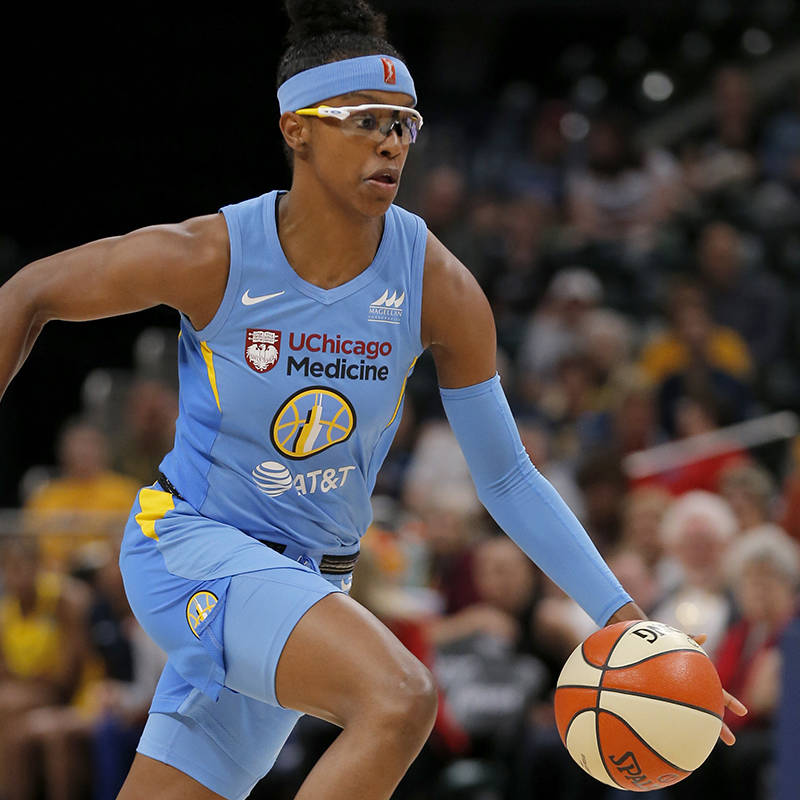 INDIANAPOLIS, IN JUNE 15 2019: Chicago Sky guard Diamond DeShields (1) drives the ball up court ...