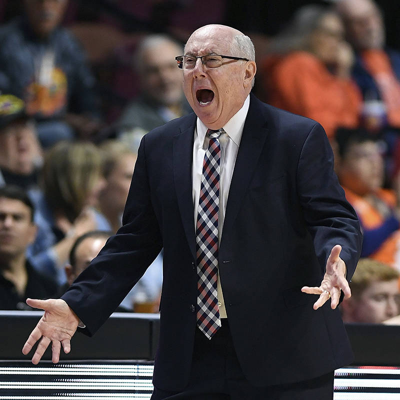 FILE - In this June 11, 2019, file photo, Washington Mystics coach Mike Thibault argues with th ...
