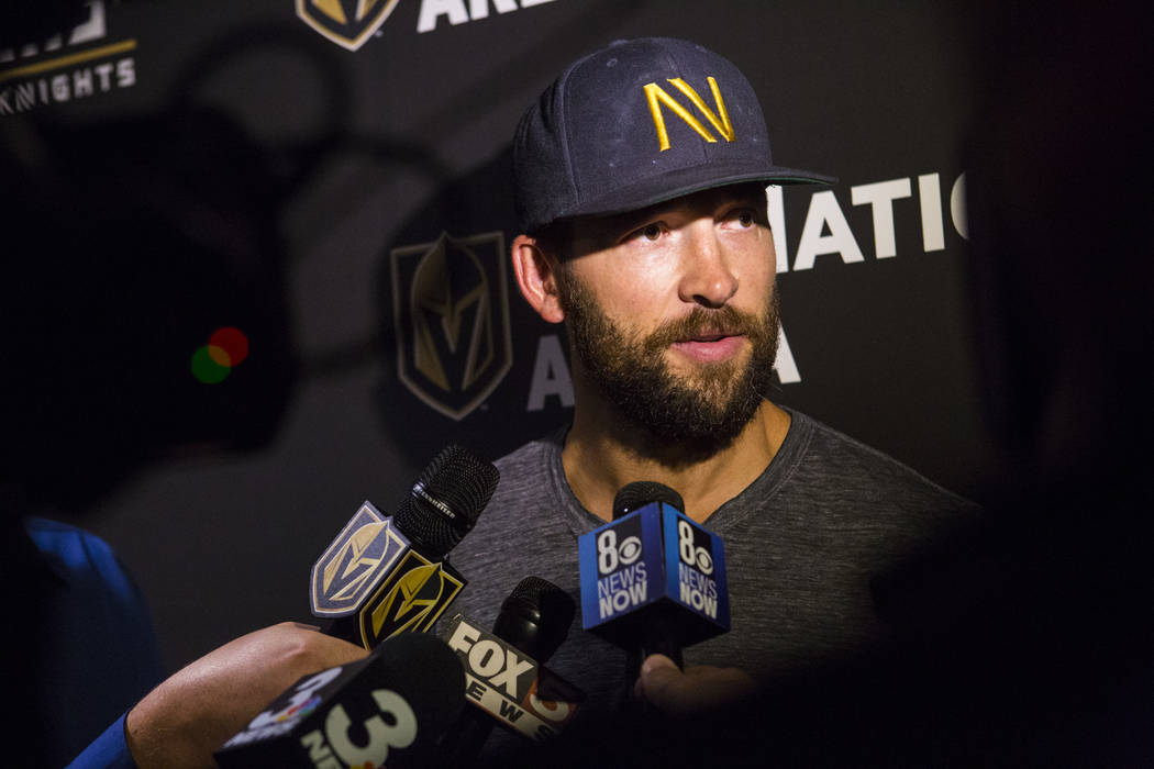 Golden Knights defenseman Deryk Engelland talks about his contract at City National Arena in La ...