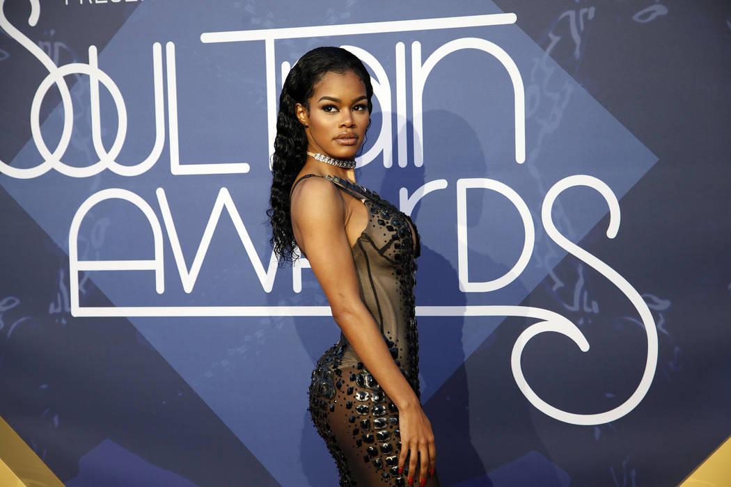 Teyana Taylor walks the red carpet at the Soul Train Music Awards on Sunday, Nov. 6, 2016, at t ...