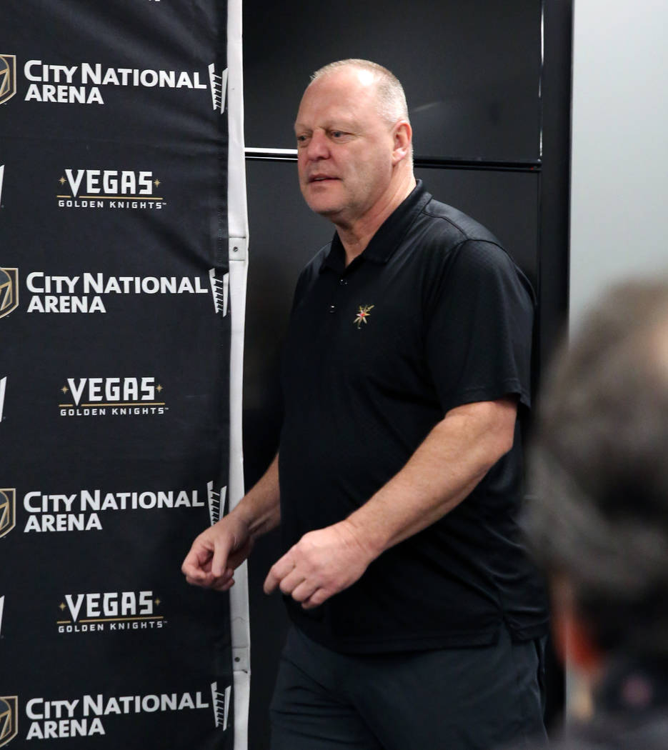 Golden Knights coach Gerard Gallant enters the press room to address the media at City National ...