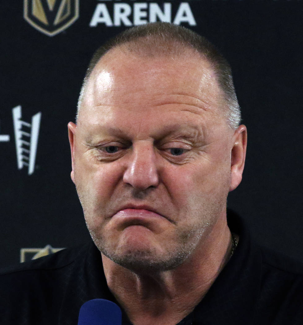 Golden Knights coach Gerard Gallant pauses as he addresses the media at City National Arena on ...
